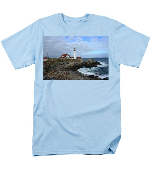 Clouds Over Portland Head Lighthouse Men's T-Shirt  (Regular Fit) by Lou Ford