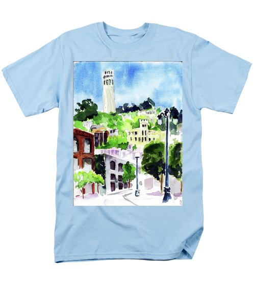 Coit Tower From The Embarcadero Men's T-Shirt  (Regular Fit) by Tom Simmons