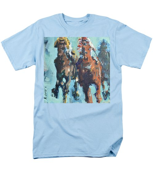 Men's T-Shirt  (Regular Fit) featuring the painting Contemporary Horse Racing Painting by Robert Joyner