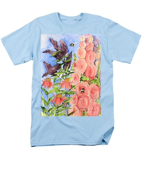 Cottage Garden Hollyhock Bees Blue Skie Men's T-Shirt  (Regular Fit) by Laurie Rohner