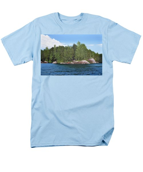 Men's T-Shirt  (Regular Fit) featuring the painting Cottage View Silver Lake by Kenneth M Kirsch