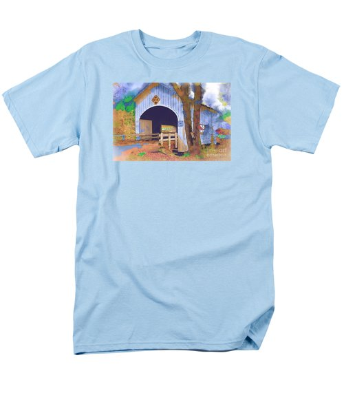 Men's T-Shirt  (Regular Fit) featuring the digital art Covered Bridge In Watercolor by Kirt Tisdale