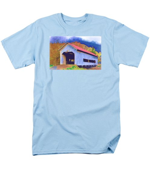 Men's T-Shirt  (Regular Fit) featuring the digital art Covered Bridge With Red Roof by Kirt Tisdale