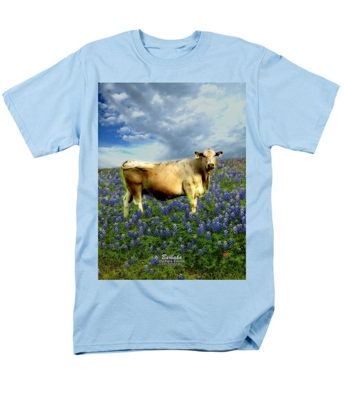 Cow And Bluebonnets Men's T-Shirt  (Regular Fit) by Barbara Tristan