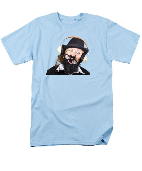 Men's T-Shirt  (Regular Fit) featuring the photograph Crazy Woman With Headphones by Jorgo Photography - Wall Art Gallery