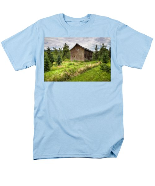 Men's T-Shirt  (Regular Fit) featuring the photograph Crooked Old Barn On South 21 - Finger Lakes New York State by Gary Heller