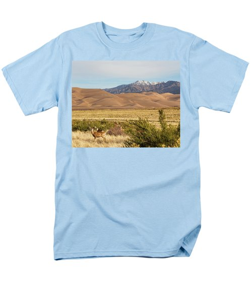 Men's T-Shirt  (Regular Fit) featuring the photograph Deer And The Colorado Sand Dunes by James BO Insogna