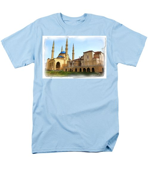 Men's T-Shirt  (Regular Fit) featuring the photograph Do-00362al Amin Mosque And St George Maronite Cathedral by Digital Oil