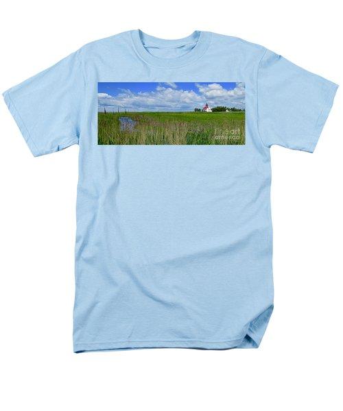 East Point Lighthouse Across The Marsh  Men's T-Shirt  (Regular Fit) by Nancy Patterson
