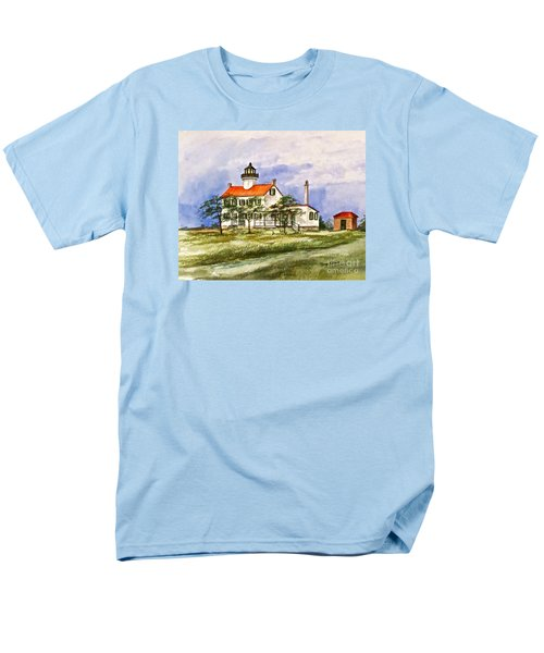 Men's T-Shirt  (Regular Fit) featuring the painting East Point Lighthouse Glory Days  by Nancy Patterson