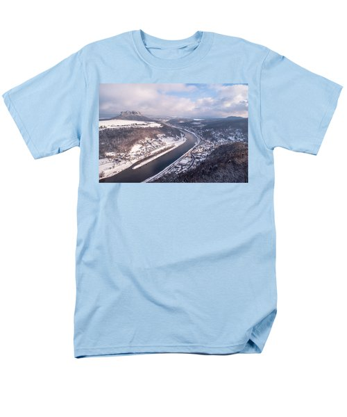 Men's T-Shirt  (Regular Fit) featuring the photograph Elbe Valley With Mountain Pfaffenstein by Jenny Rainbow