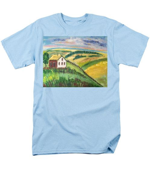 Men's T-Shirt  (Regular Fit) featuring the painting Farmhouse On A Hill by Diane Pape