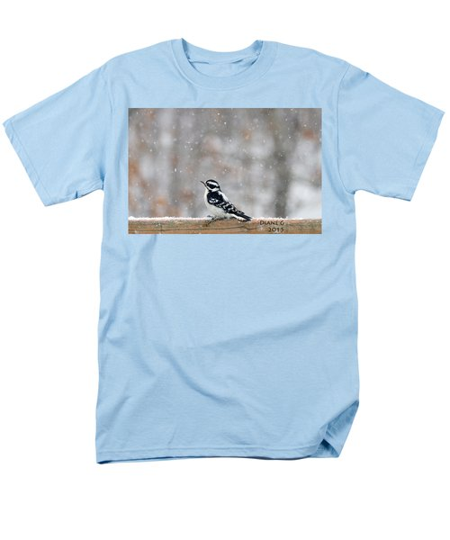 Female Downy Woodpecker Men's T-Shirt  (Regular Fit) by Diane Giurco