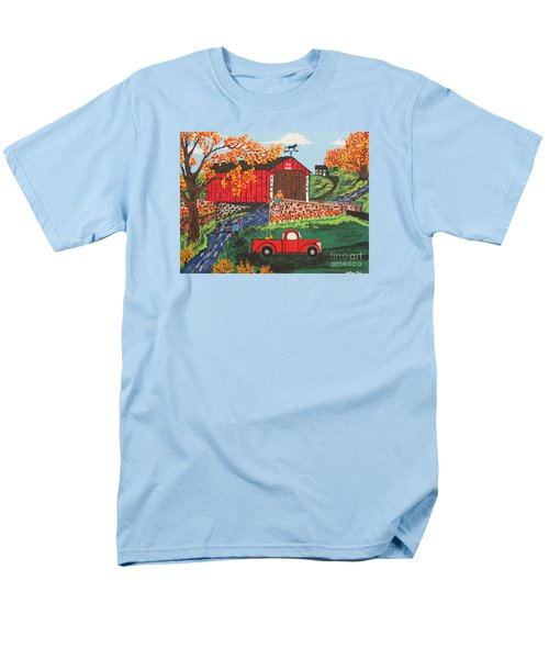 Men's T-Shirt  (Regular Fit) featuring the painting Fishing Under The  Covered Bridge by Jeffrey Koss