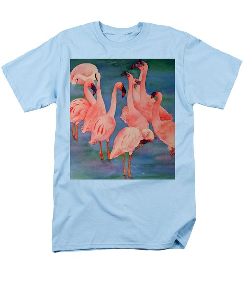 Men's T-Shirt  (Regular Fit) featuring the painting Flamingo Convention In The Square by Judy Mercer