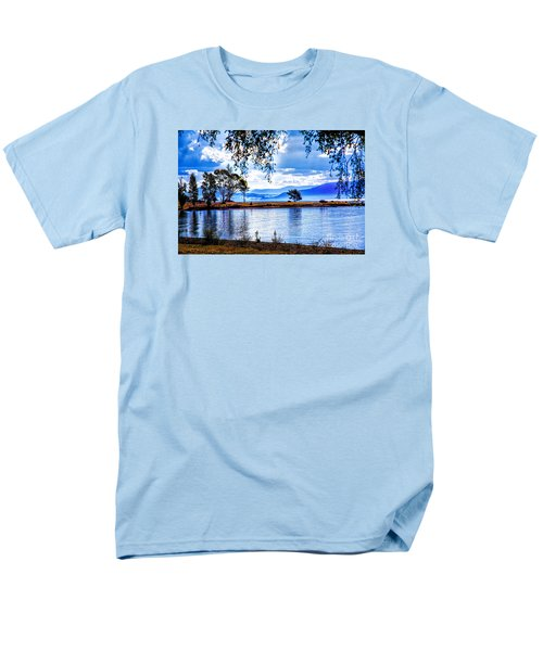 Men's T-Shirt  (Regular Fit) featuring the photograph Foggy Hills And Lakes by Rick Bragan