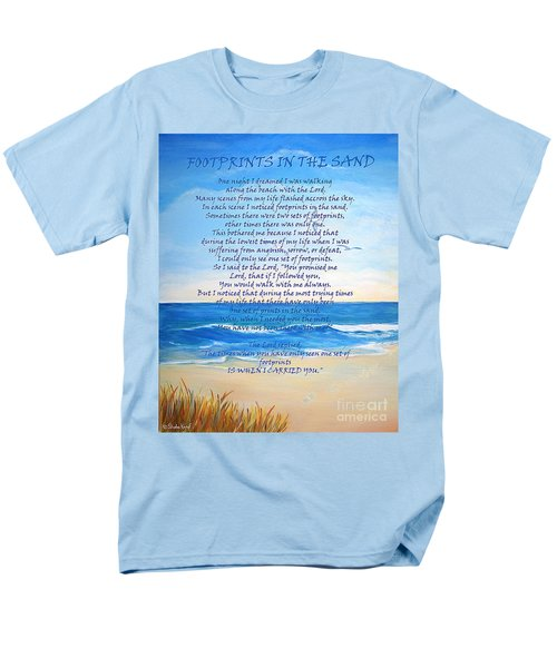 Men's T-Shirt  (Regular Fit) featuring the painting Footprints In The Sand by Shelia Kempf