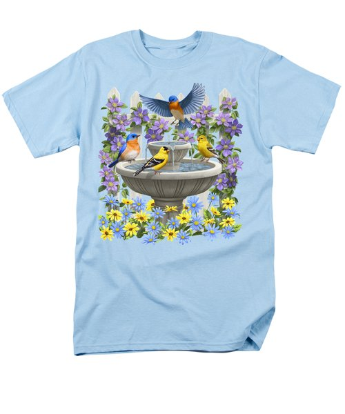 Fountain Festivities - Birds And Birdbath Painting Men's T-Shirt  (Regular Fit) by Crista Forest