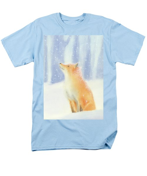 Men's T-Shirt  (Regular Fit) featuring the painting Fox In The Snow by Taylan Apukovska