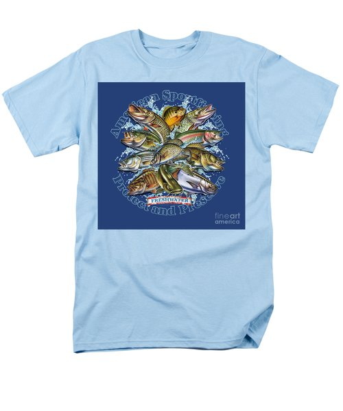 Men's T-Shirt  (Regular Fit) featuring the painting Freshwater Fish Preserve by Jon Q Wright JQ Licensing