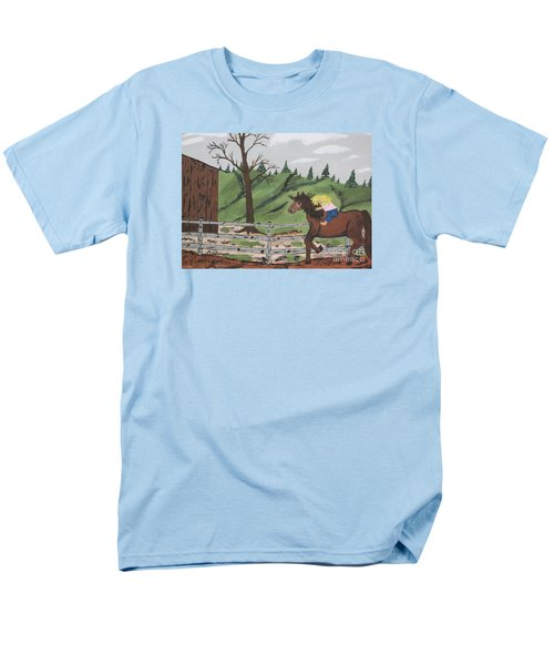 Men's T-Shirt  (Regular Fit) featuring the painting Gianna Riding  Bareback by Jeffrey Koss