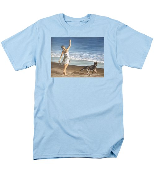 Girl And Dog Men's T-Shirt  (Regular Fit) by Natalia Tejera