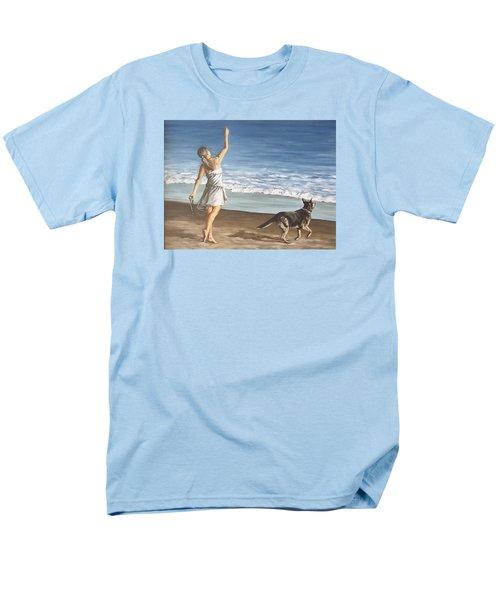 Girl And Dog Men's T-Shirt  (Regular Fit)