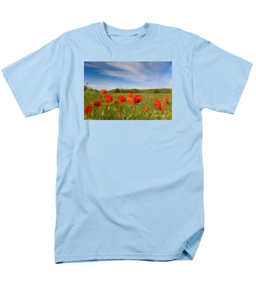 Men's T-Shirt  (Regular Fit) featuring the photograph Grassland And Red Poppy Flowers by Jean Bernard Roussilhe