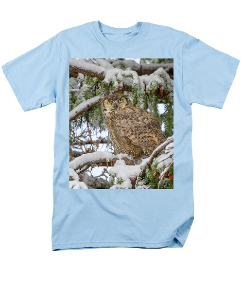 Great Horned Owl In Snow Men's T-Shirt  (Regular Fit) by Jack Bell