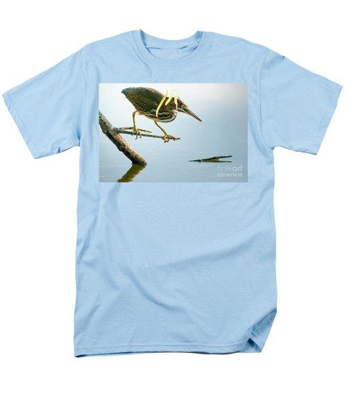 Green Heron Sees Minnow Men's T-Shirt  (Regular Fit) by Robert Frederick