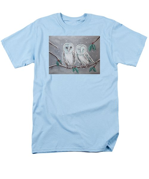 Men's T-Shirt  (Regular Fit) featuring the painting Hiboux En Hiver by Victoria Lakes