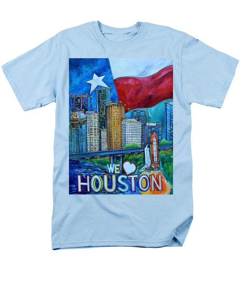 Men's T-Shirt  (Regular Fit) featuring the painting Houston Montage by Patti Schermerhorn