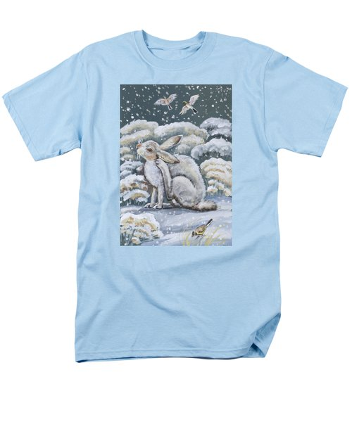Men's T-Shirt  (Regular Fit) featuring the painting Jackrabbit And Horned Larks by Dawn Senior-Trask