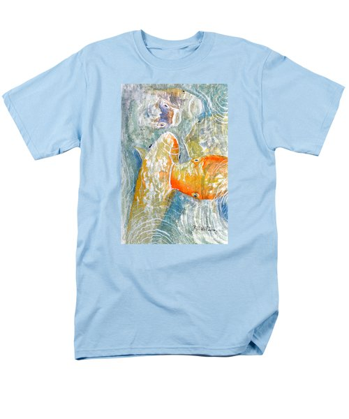 Men's T-Shirt  (Regular Fit) featuring the painting Koi Carp Feeding Frenzy by Bill Holkham