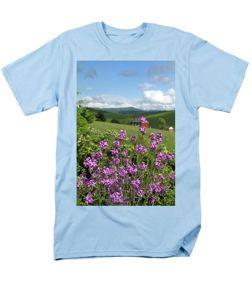 Men's T-Shirt  (Regular Fit) featuring the photograph Landscape With Purple Flowers by Emanuel Tanjala