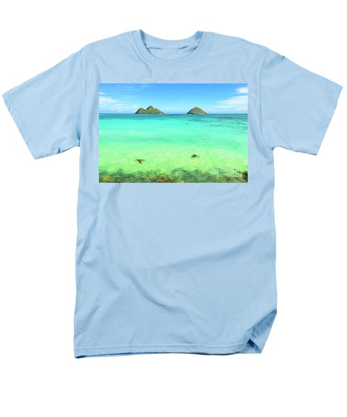 Lanikai Beach Two Sea Turtles And Two Mokes Men's T-Shirt  (Regular Fit) by Aloha Art