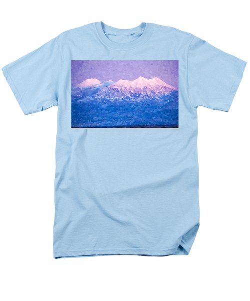 Men's T-Shirt  (Regular Fit) featuring the digital art Last Light On Mount Peale From Buck Canyon Overlook by Kai Saarto
