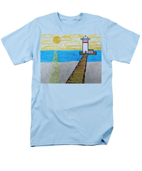 Lighthouse And Yellow Sun Men's T-Shirt  (Regular Fit)