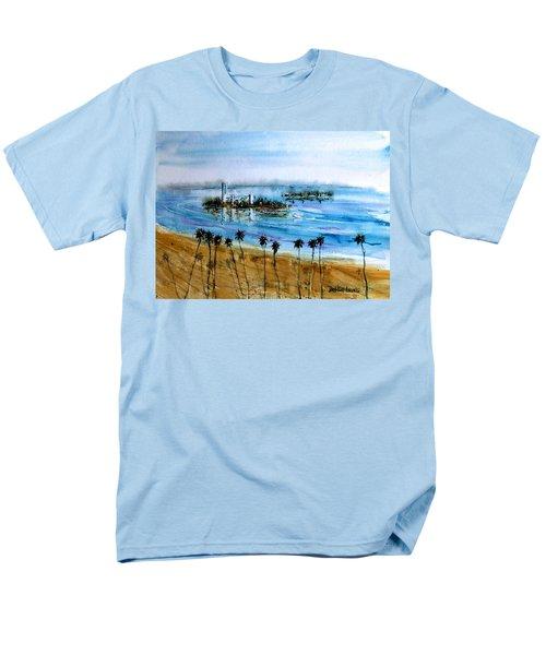 Long Beach Oil Islands Before Sunset Men's T-Shirt  (Regular Fit) by Debbie Lewis