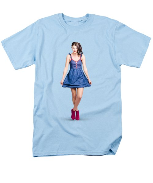 Lovable Eighties Female Pin-up In Denim Dress Men's T-Shirt  (Regular Fit) by Jorgo Photography - Wall Art Gallery