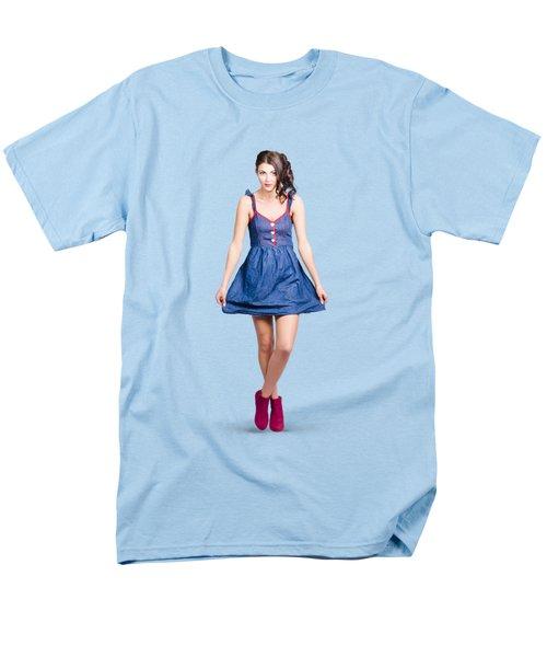 Lovable Eighties Female Pin-up In Denim Dress Men's T-Shirt  (Regular Fit)