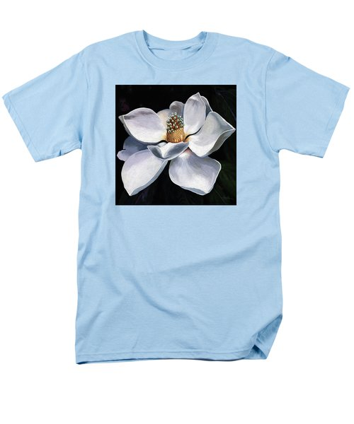 Men's T-Shirt  (Regular Fit) featuring the painting Lovely In White - Painting Magnolia Flower  by Linda Apple