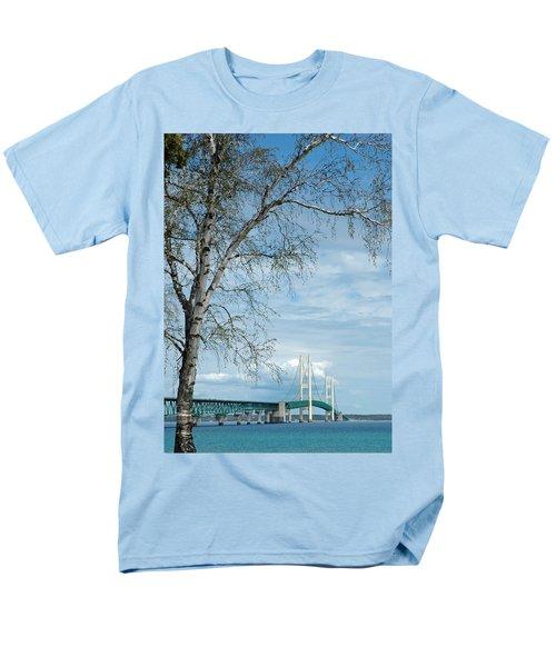 Mackinac Bridge Birch Men's T-Shirt  (Regular Fit) by LeeAnn McLaneGoetz McLaneGoetzStudioLLCcom