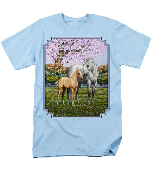 Mare And Foal Pillow Blue Men's T-Shirt  (Regular Fit) by Crista Forest