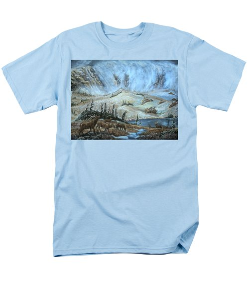 Men's T-Shirt  (Regular Fit) featuring the painting Medicine Bow Peak In Clouds With Elk by Dawn Senior-Trask