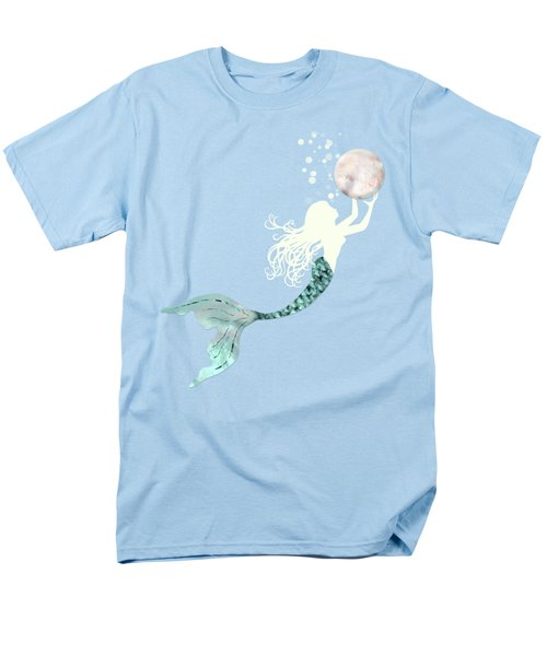 Mermaid Gathering Pearls Creamy White Siren Holds A Huge Pearl Men's T-Shirt  (Regular Fit) by Tina Lavoie
