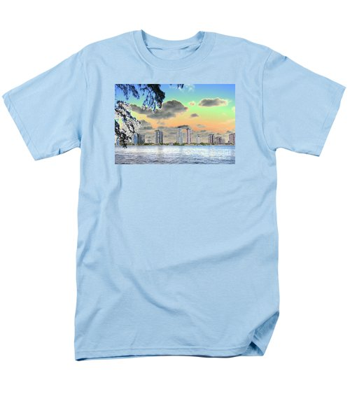 Miami Skyline Abstract Men's T-Shirt  (Regular Fit) by Christiane Schulze Art And Photography