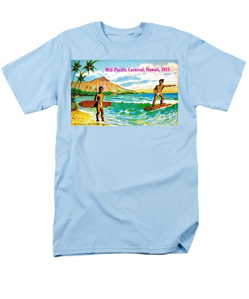 Men's T-Shirt  (Regular Fit) featuring the painting Mid Pacific Carnival Hawaii Surfing 1915 by Peter Gumaer Ogden
