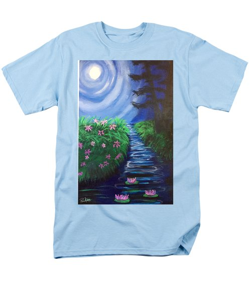 Men's T-Shirt  (Regular Fit) featuring the painting Moonlit Stream by Diana Riukas