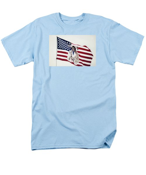 Men's T-Shirt  (Regular Fit) featuring the photograph Native American Flag by Emanuel Tanjala
